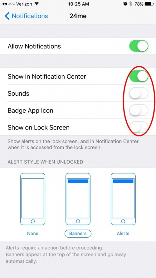 iphone keeps turning off by itself how to turn push notifications for a particular app on 19356
